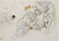 erminia soccorre tancredi ferito (studio) by ambrogio riva