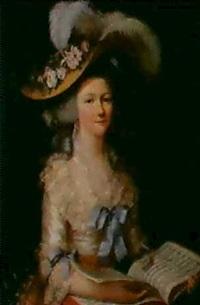 portrait d'une jeune femme tenant une partition by elisabeth bocquet le moine