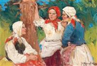 drei mädchen by fotij stepanowitsch krassitzkij