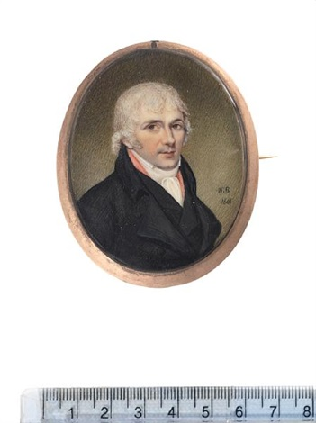 a gentleman wearing black coat and waistcoat pink solitaire white chemise stock and cravat powdered hair by william bate