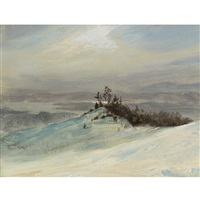winter on the hudson river near catskill, new york by frederic edwin church