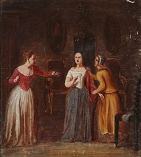 countess leonora christine with two of her chamber maids by edvard lehmann