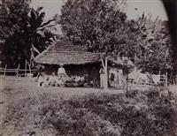 groupe d'indiens devant son habitation, guatemala by eadweard muybridge