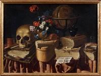 haec sola virtus, vanité au crâne et à la mappemonde et vana est pulchritudo, vanité au miroir et au sablier (pair) by master of the vanitas texts