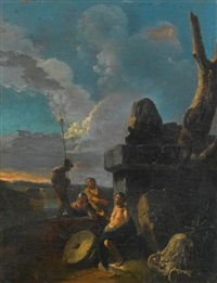 soldiers conversing by roman ruins by andrea locatelli