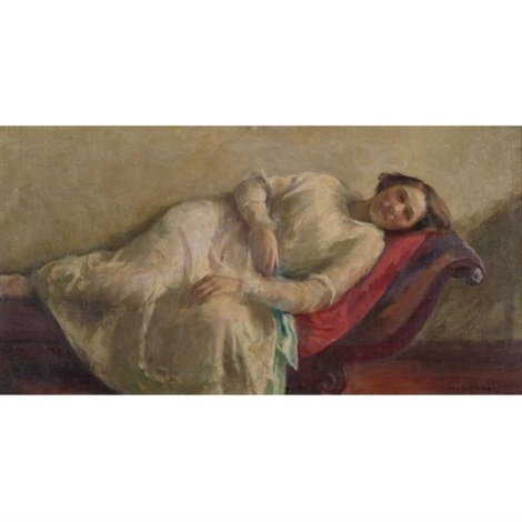 reclining woman in a white dress by ivan g olinsky