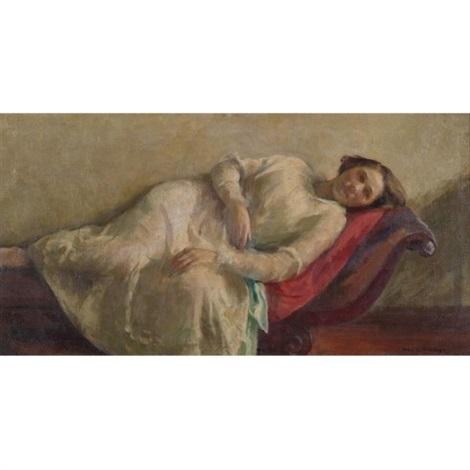 reclining woman in a white dress by ivan g. olinsky