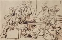 soldats jouant aux cartes by charles parrocel