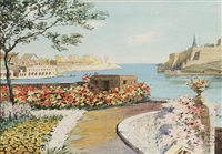 marsamaxett harbour and valletta from the ramparts of fort manoel, malta by nicholas krasnoff