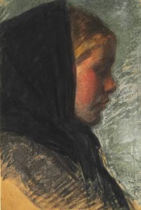 profile portrait of a young fisher girl by peder severin krøyer