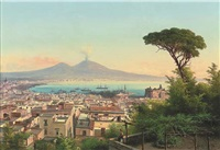 a maiden on a neapolitan balcony, vesuvius beyond by guido agostini
