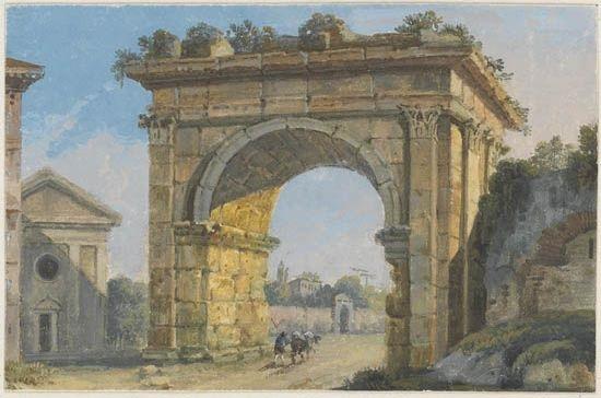 avanzo del tempio della concordia cascatelle nella villa maecenas a tivoli tempio della fortuna virile arco di galliano 4 works by carlo labruzzi