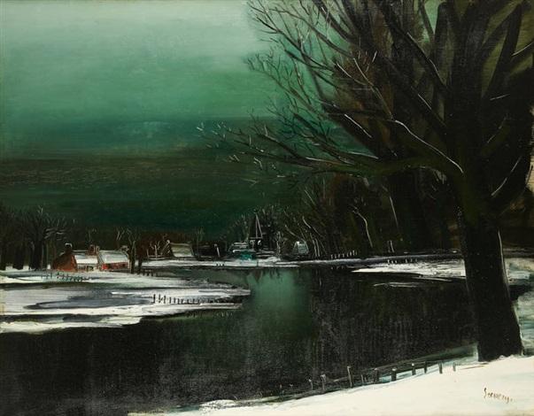 vue de la lys en hiver by albert saverys