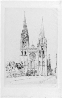 la cathédrale de chartres (+ another similar; 2 works) by gustave leheutre