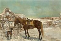 rastendes pferd und hund vor einem bauernhaus by julius holzmueller