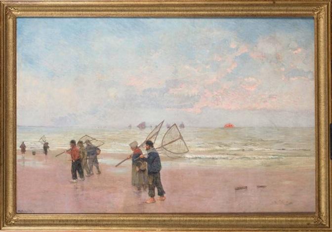 pêcheurs de crevettes sur la plage by théo van rysselberghe
