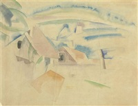 two houses in a landscape by charles demuth