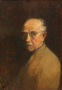 green and tan self portrait by gustave f. goetsch