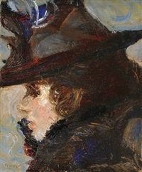 lady with hat by adolf fényes