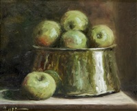 still life with green apples and brass pot by desmond smee