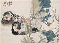 荷花鸳鸯 by xu xiang