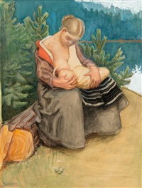 a young woman feeding her child (sketch for fresco) by akseli valdemar gallen-kallela