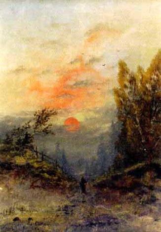 wanderer bei sonnenuntergang by anton von rüdt
