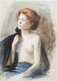 sitting nude with cape by george raab