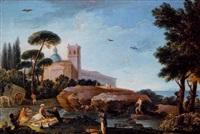 paisaje imaginario con figuras cruzando un puente y ciudadela al fondo by francisco llacer y valdermont