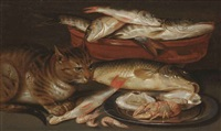 a cat sitting by a bowl of fish and a silver plate with two oysters, a lobster and shrimps by clara peeters