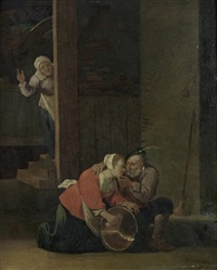 an old man courting a young maid in a barn interior (after david teniers the younger) by cornelisz mahu