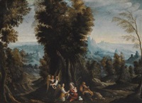 a landscape with john the baptist preaching in the wilderness; a landscape with the rest on the flight into egypt (pair) by giovanni andrea (il mastelletta) donducci