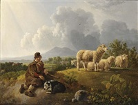 a young shepherd with his flock by leendert de koningh the younger