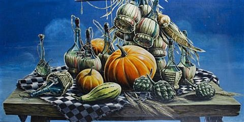 still life with pumpkins and bottles by stuart m armfield