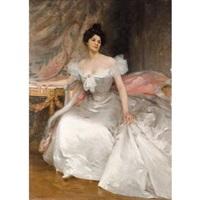 portrait de jeune femme en robe blanche by etienne-albert-eugène joannon