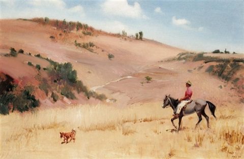horse and rider with his dog by terence cuneo