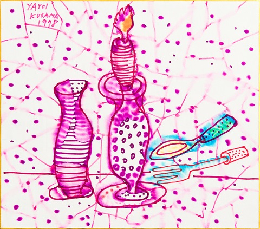 still life of candlestick by yayoi kusama