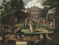 elegantly dressed figures merrymaking in a garden by joris (george) hoefnagel