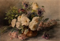 still life of white roses and poppies by theresa maria hegg