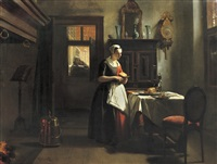 an amsterdam orphan girl preparing supper by hubertus van hove