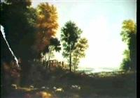 romantisk landskab med graessende far og ruiner by peltro william tomkins