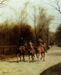 an afternoon ride, bois de boulogne by edmond georges grandjean