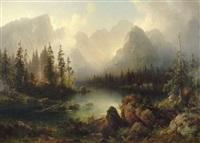 lever du jour au bord d'un lac de montagne (bergsee) by julius lange