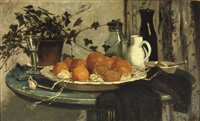 oranges and bottles on a blue table by marie van regteren altena