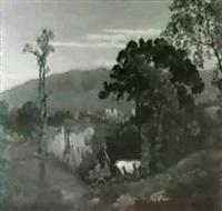 paesaggio con carro e contadini by pietro senno