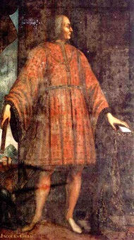 portrait of jacques coeur wearing a red fleur-de-lys embroidered costume, a town beyond by jean fouquet
