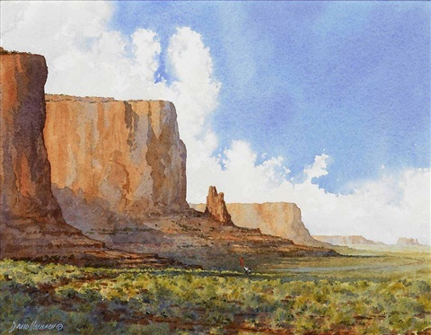 mormon pioneers send father and son ahead in monument valley with blanket to signal at fort by david allen halbach