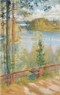 lake landskape from kaukola, saaris by albert edelfelt