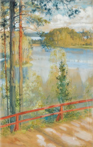 lake landskape from kaukola saaris by albert edelfelt