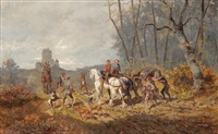 returning home from the bear hunt by alexander ritter von bensa
